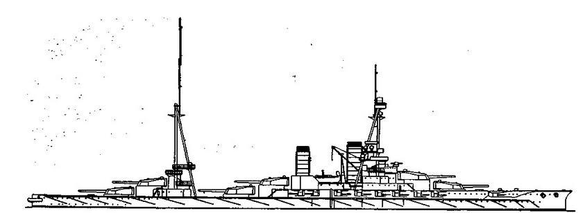 """Линейный корабль """"Хьюга"""". 1918 г. (Наружный вид)"""