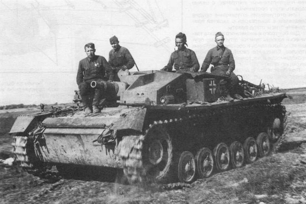 Отремонтированное штурмовое орудие StuG III Ausf.E во время ходовых испытаний. Западный фронт, 1942 год