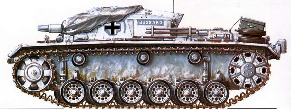 StuG III Ausf.B. 184-й дивизион штурмовых орудий (184. StuG Abt). Восточный фронт, район Демянска, зима 1941 г.