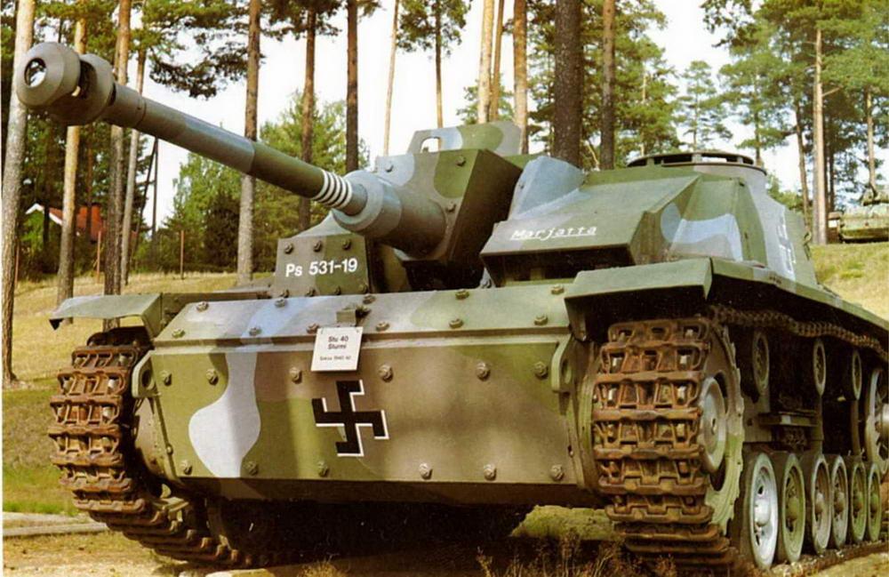 Одно из нескольких штурмовых орудий StuG 40 Ausf.G, находящихся в финском танковом музее в Пароле.