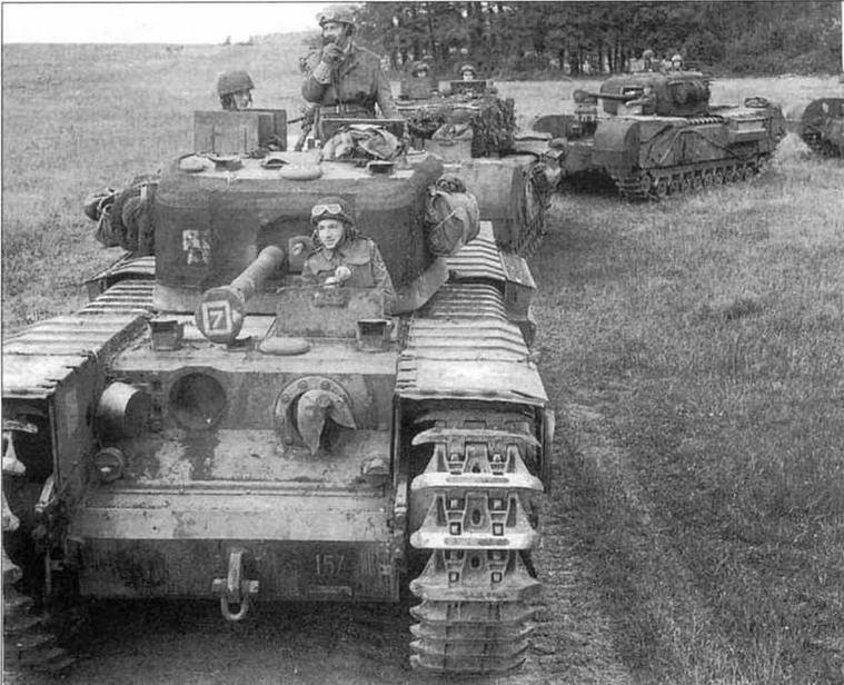 Колонна «Черчиллей» 34-й армейской танковой бригады в Нормандии. Июль 1944 года