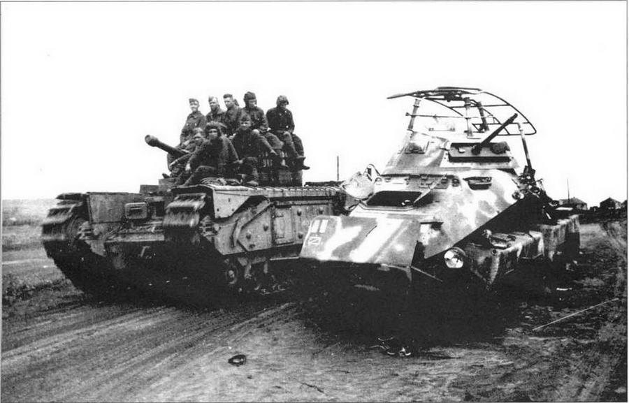 «Черчилль IV» из состава 48 отд. гв. тпп на подступах к Киеву. Ноябрь 1943 года. На башне машины надпись: «За радянську Украину»