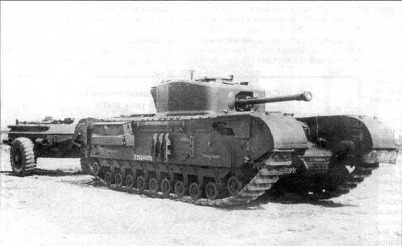 Огнеметный танк «Черчилль-крокодил» с прицепом на НИБТПолигоне, 1946 год