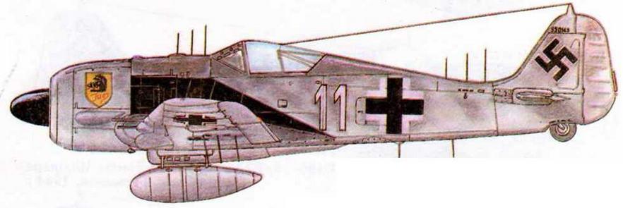 FW190A-6/R1 из I/NJG10 Ганса Краузе, 28 ночных побед. Германия, 1944 г.