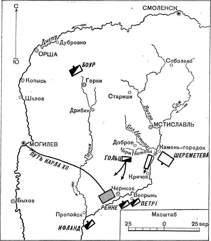 Положение сторон 21 августа 1708г