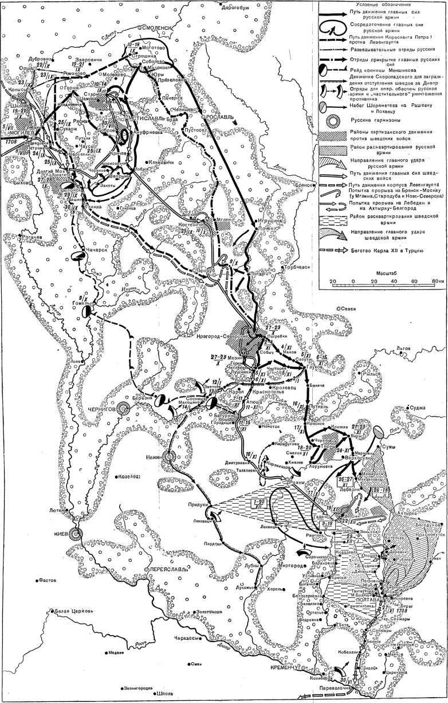 Маневренные действия во время вторжения шведов в русское государство с 5. VII.1708г. по 30.VI.1709г.