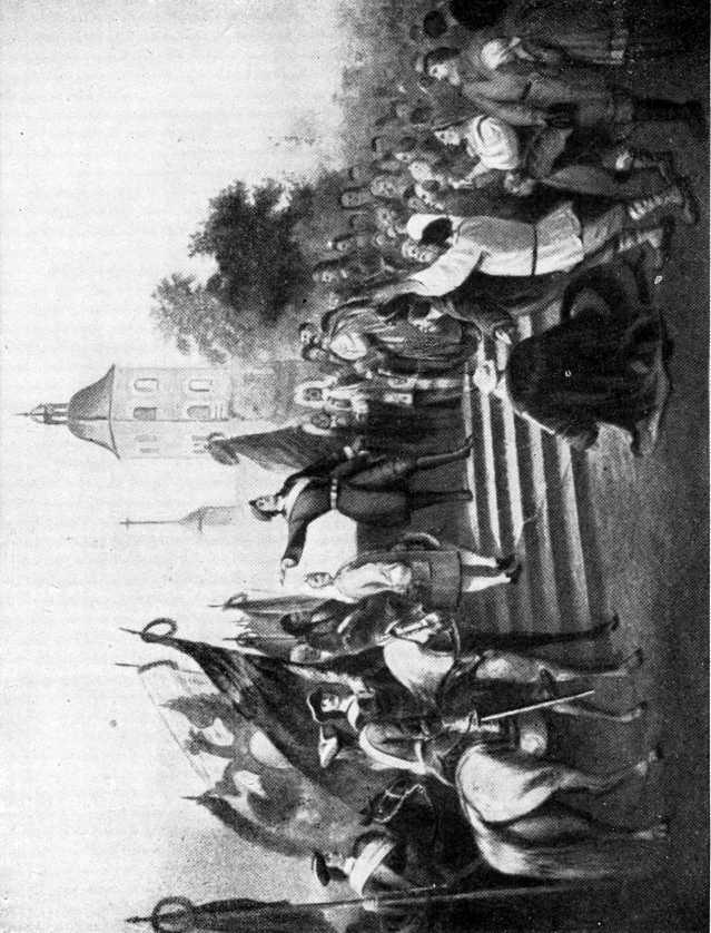Петр Великий объявляет народу о Ништадтском мире.