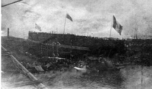 """30 мая 1899г. """"Баян"""" во время спуска на воду"""