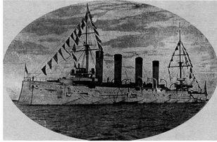 """Броненосный крейсер """"Баян"""" во время смотра. Кронштадтский рейд, 24–27 июля 1902г."""