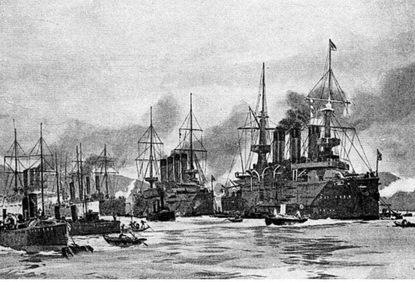 На рейде Порт-Артура (С рисунка того времени)