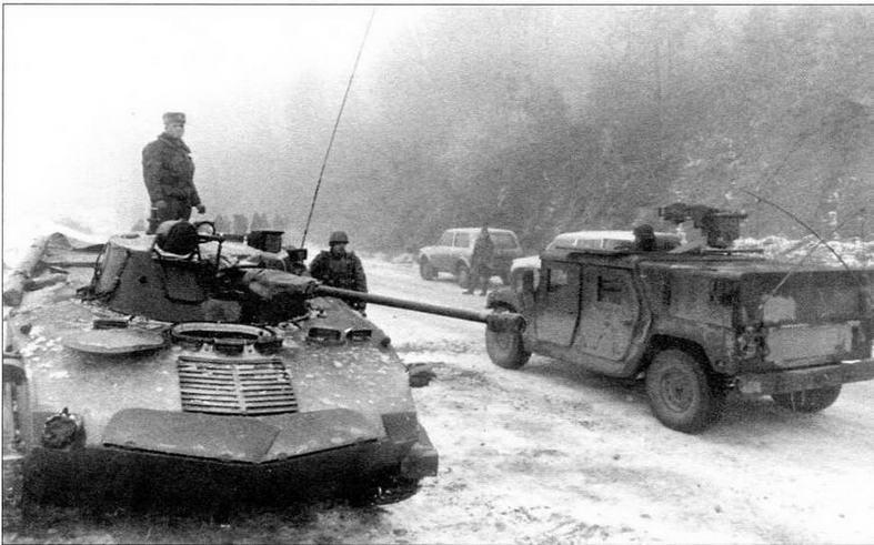 БМД-2 у российского блок-поста вблизи д.Майовицы. Босния, январь 1996 года