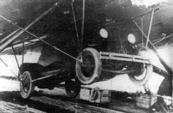 Подвеска бронеавтомобиля Д-12 под бомбардировщиком ТБ-3