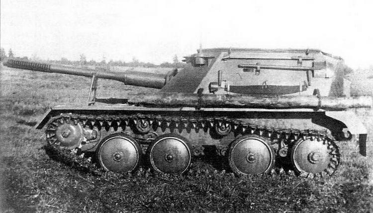 Авиадесантная самоходная установка АСУ-76 во время войсковых испытаний. Лето 1949 года