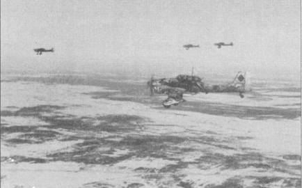 Гитлеровский план молниеносной войны на Востоке Красная Армия окончательно похоронила зимой 1941-42г.г. Самолеты пришлось красить белой краской на водяной основе — временная «зимняя» окраска». Краска держалась плохо, быстро облезала; это ее свойство наряду с художественными изысками технического состава порой придавало «Штукам» несколько сюрреалистический внешний вид. Ближайший к объективу камеры Ju-87 явно красил художник- недоучка: в носу фюзеляжа проглядывает нечто, напоминающее акульи зубы, а на обтекателе колеса основной опоры шасси — полосы «под тигра». Да убоятся акуолобразного тигра сталинские соколы!