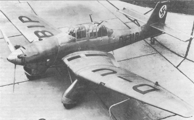 Четвертый прототип Ju-87V-4уже имел силуэт «классической» «Штуки» и был прототипом для серийного Ju 87А-1.
