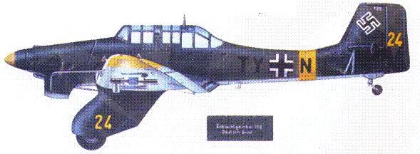 Этот Ju 87А-2 использовался в качестве учебного на аэродроме в Збраславице (Богемия) с декабря 1943 по февраль 1944г.