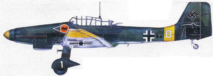 Ju 87 D-l, I./StG, самолет командира эскадрильи капитана Бруно Диллея, Россия, 1942.