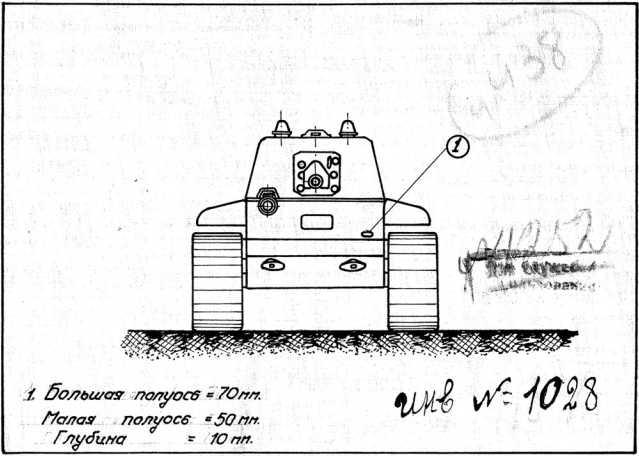 Схема с изображением танка КВ-1, на которой отмечены места и характеристики попаданий в танк снарядов во время действий машины на Карельском перешейке в декабре 1939 года (АСКМ).