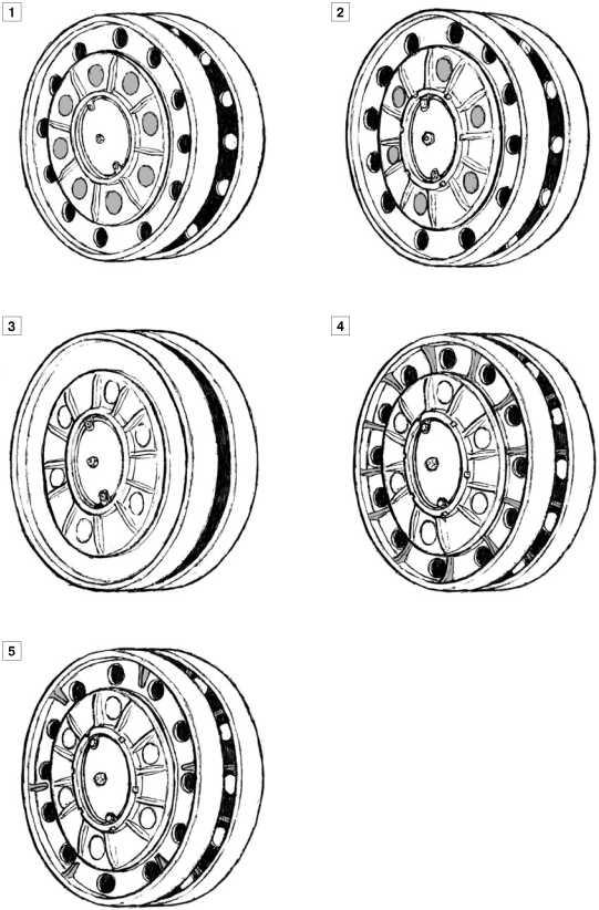 Опорные катки танков КВ-1 выпуска 1940–1941 годов: 1 — с восемью отверстиями в диске на машинах выпуска до августа 1940 года; 2 — с шестью отверстиями в диске на машинах выпуска августа 1940-июня 1941 года; 3 — усиленный, без отверстий в ободе, на машинах выпуска июня-июля 1941 года; 4 — литой усиленный с двенадцатью дополнительными ребрами жесткости на ободе, с середины июля и до конца производства катков с внутренней амортизацией; 5 — усиленный производства Челябинского тракторного завода с шестью ребрами жесткости, встречается на машинах выпуска августа 1941 года.