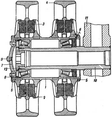 Опорный каток КВ-1 с внутренней амортизацией: 1 — ступица, 2 — диск, 3 — резиновый амортизатор, 4 — обод, 5- гайка, 6 — сальник, 7 — колпак, 8 — пружинное кольцо, 9 — пробка отверстия для смазки; 10 — ось катка, 11 — балансир (руководство службы «Танк КВ»).
