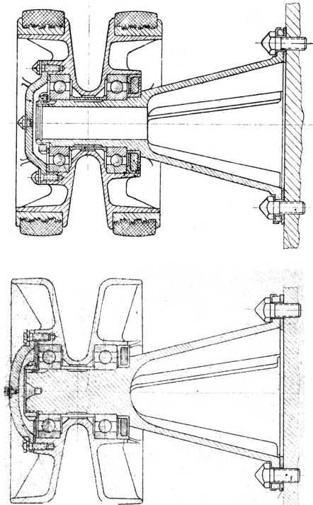 Поддерживающие катки танка КВ-1: вверху — с наружной обрезинкой, такие устанавливались примерно до ноября 1941 года; внизу — цельнолитой, введенный в ноябре 1941 года из-за дефицита резины. В ходе производства в конструкцию литого катка внесли ряд изменений с целью упрощения производства (руководство службы «Танк КВ»).