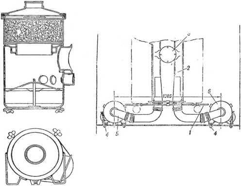 Воздушный фильтр танка КВ-1, введенный в 1941 году: слева воздухоочиститель, справа схема размещения фильтра в моторном отделении: 1 — пароотводные трубки, 2 — всасывающие коллекторы, 3 — заглушка горловины фланца, 4 — крепежные болты, 5 — трубы для доступа воздуха, 6 — воздухоочистители. Такая конструкция позволяла использовать плоскую крышку люка над моторным отделением («Танк КВ. Руководство по техническому обслуживанию и войсковому ремонту»).