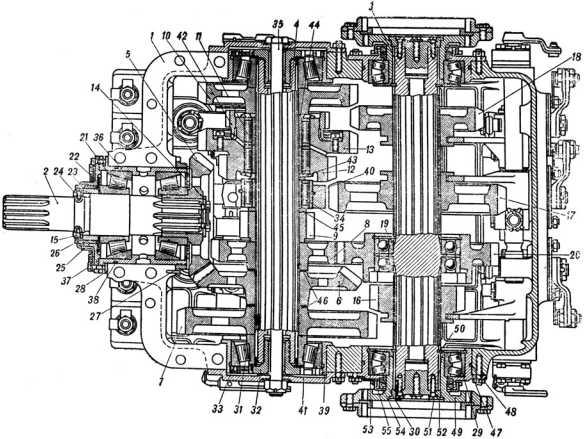 Разрез коробки перемены передач танка КВ-1 по осям ведущего, промежуточного и главного валов (руководство службы «Танк КВ»).