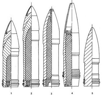 Образцы снарядов 305-мм орудий: