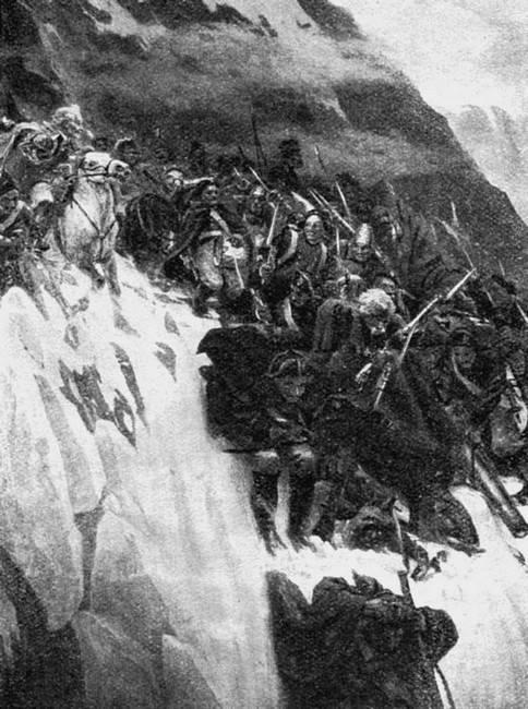 43.Донские казаки с Суворовым переходят через Альпы. 1799год