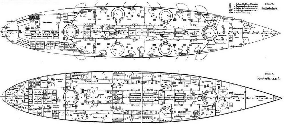 """Линейные корабли типа """"Нассау"""" (Планы батарейной и промежуточной палуб)"""