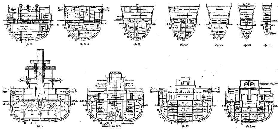 """Линейные корабли типа """"Нассау (Поперечные сечения корпуса)"""