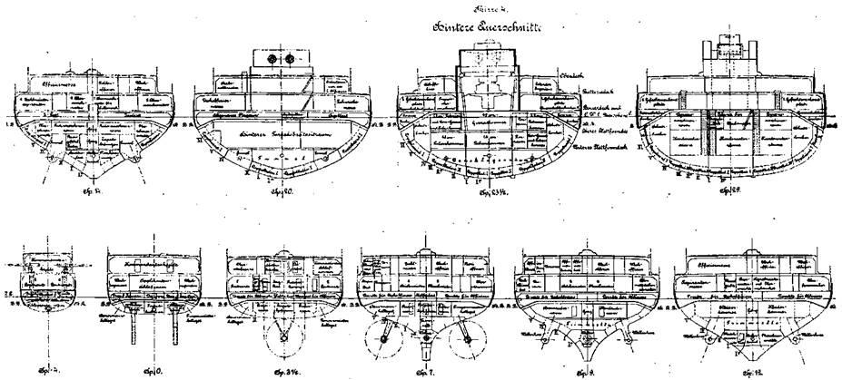 """Линейные корабли типа """"Нассау"""" (Поперечные сечения корпуса)"""