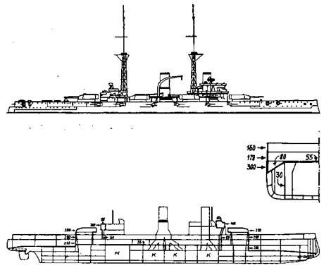 Предварительные эскизы, представленные в 1906 гг. Департаментом проектирования при создании первого германского линкора-дредноута