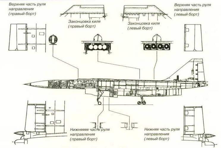 Компоновка самолета Т-4 (вид сбоку) (Николай Гордюков)
