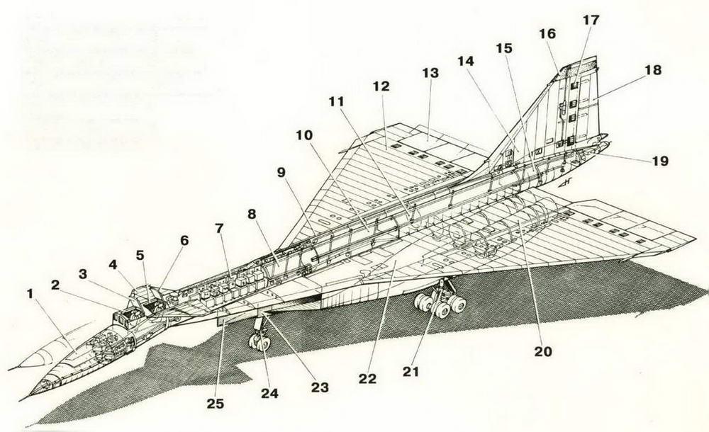 1. Отклоняемая носовая часть фюзеляжа 2. Передняя кабина (летчика) 3. Откидная створка передней кабины 4. Переднее горизонтальное оперение 5. Задняя кабина (штурмана-оператора) 6. Откидная створка задней кабины 7. Отсек радиоэлектронного оборудования 8. Топливный бак-отсек (4Ф) 9. Гаргрот 10. Топливный бак-отсек (5Ф) 11. Топливный бак-отсек (6Ф) 12. Отъемная часть крыла 13. Секции элевонов 14. Киль 15. Хвостовой топливный бак 16. Радиопрозрачная законцовка киля 17. Бустеры управления рулем направления 18. Двухсекционный руль направления 19. Парашютно-тормозная установка (ПТУ) 20. Турбореактивный форсажный двигатель РД36-41 21. Главная опора шасси 22. Центроплан 23. Регулируемые створки воздухозаборника 24. Передняя опора шасси 25. Вертикальный клин слива воздухозаборников