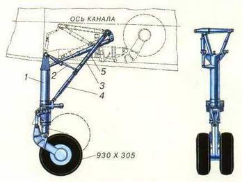 1 - амортизационная стойка 2 - механизм распора 3 - верхнее звено подкоса 4 - нижнее звено подкоса 5 - подъемник