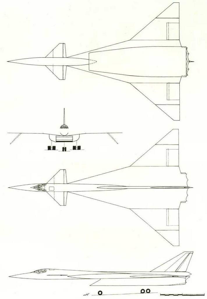 Проекции компоновки самолета Т-4 от апреля 1961 г., на основании которой был построен макет (№ 6 по схеме на стр. 18). (Николай Гордюков)