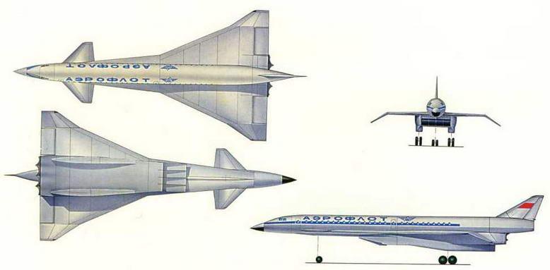Рисунок варианта компоновки пассажирского самолета Т-4 (№ 2 по схеме на стр. 18). (Николай Гордюков)