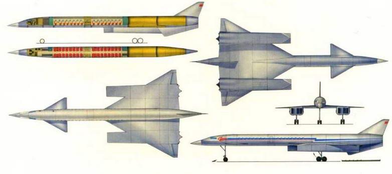 Рисунок варианта компоновки пассажирского самолета Т-4 (№ 3 по схеме на стр. 18). (Николай Гэр дюков)