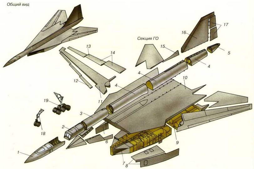 Схема технологического членения самолета Т-4М[<sup>1</sup> В Аванпроекте горизонтального оперения не было.Прим. автора]. (Николай Гордюков)