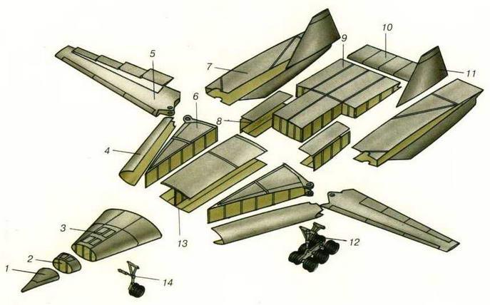 Технологическое членение самолета Т-4МС. (Николай Гордюков)
