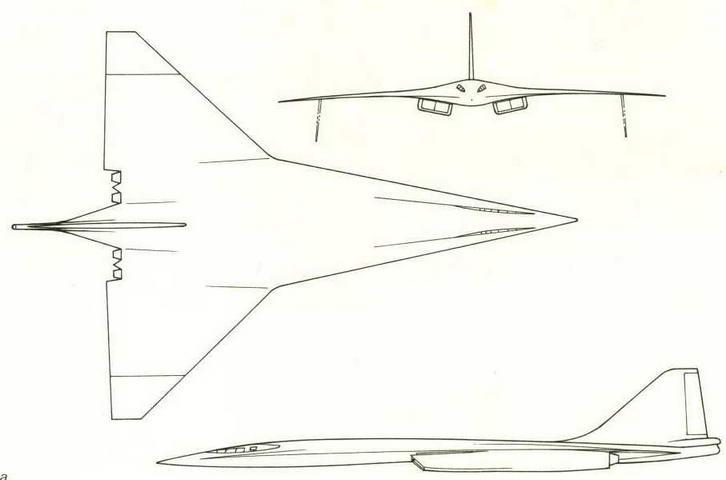 """Проекции самолета """"160М-: а) без отклоняемых законцовок крыла,"""
