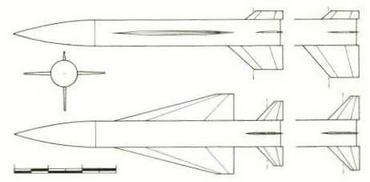 Проекции ракеты Х-30, первоначально разрабатываемой в конструкторском бюро П. О. Сухого как основное вооружение самолета Т-4. (Николай Гордюков)