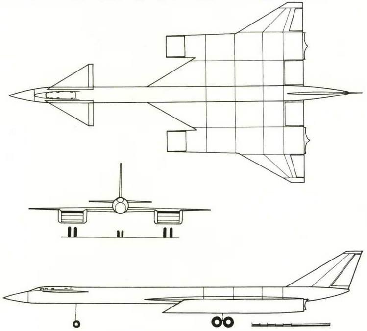Проекции самолета Т-4 представленного в аванпроекте (№ 10 по схеме на стр.18). (Николай Гордюков)