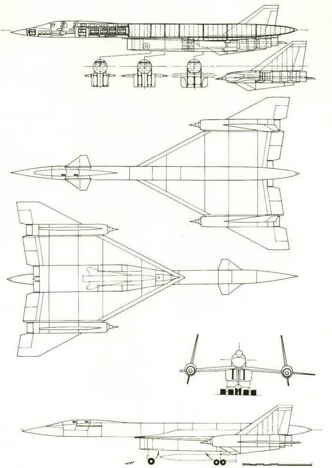 Проекции компоновки самолета Т-4 - ответ на появление машины SR-71. Третий квартал 1964 г. (№ 26 по схеме на стр. 20). (Николай Гордюков)