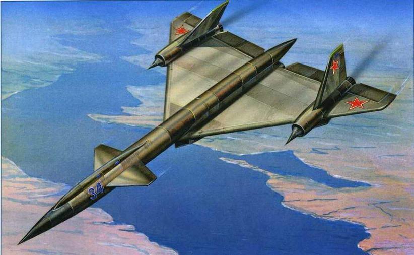 Рисунок варианта самолета Т-4 с компоновкой подобной SR-71 №26 по схеме на стр. 20. (Михаил Дмитриев)