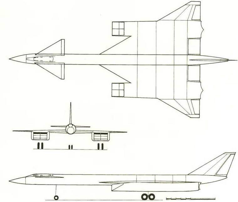 Проекции компоновки самолета Т-4 рассматриваемого в первом эскизном проекте (№ 18 по схеме на стр. 19). (Николай Гордюков)