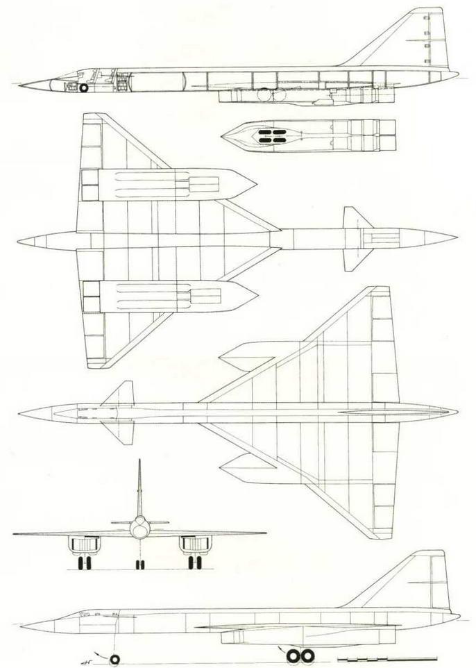 Поиск вариантов компоновки самолета Т-4 привел к созданию 46 вариантов компоновки машины. Некоторые из них представлены на следующих трех рисунках: