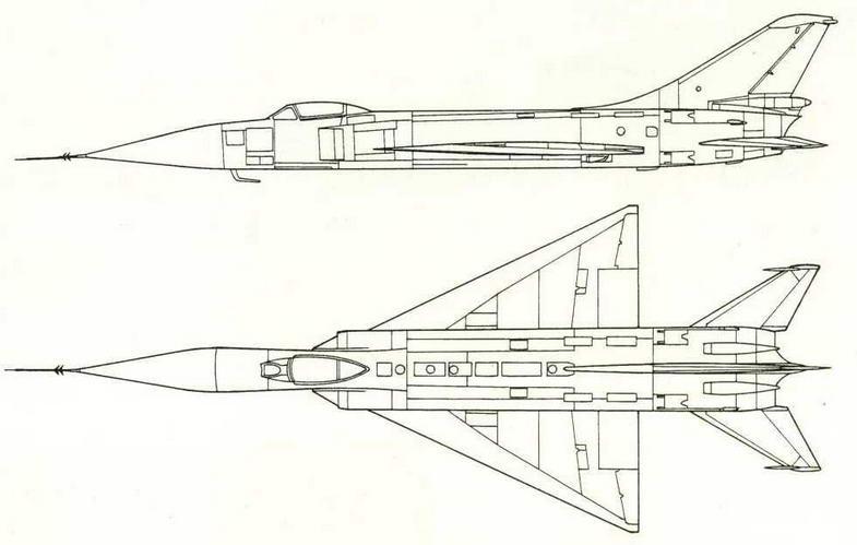 Проекции летающей лаборатории Су-15 с крылом с отогнутым носком. (Николай Гордюков)