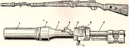 Рис.31. Общий вид мортирки-гранатомета, укрепленного на дульную часть винтовки: 1 — ствол мортирки; 2 — чашечка; 3 — шейка; 4 — мушка карабина 98K; 5 — зажимное устройство; 6 — зажимной винт; 7 — рукоятка зажимного винта; 8 — ствол винтовки.